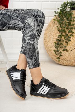 Moda Değirmeni Kadın Siyah Beyaz Krep Tabanlı Sneaker Md1053-101-0002 2
