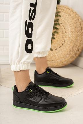 Moda Değirmeni Kadın Siyah Yeşil Sneaker Md1053-101-0002 0