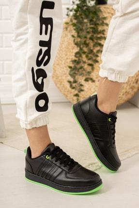 Moda Değirmeni Kadın Siyah Yeşil Sneaker Md1053-101-0002 2