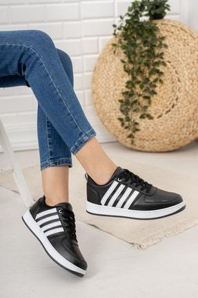 Moda Değirmeni Kadın Siyah Beyaz Sneaker Md1053-101-0002 2