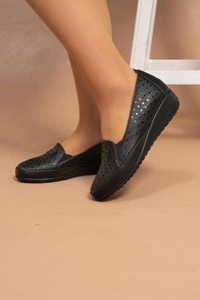 MelikaWalker Kadın Siyah Lazer Desenli Genç Anne Comfort Kaucuk Kaymaz Taban Ayakkabı 4