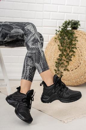 Moda Değirmeni Kadın Siyah Sneaker Md1054-101-0001 2