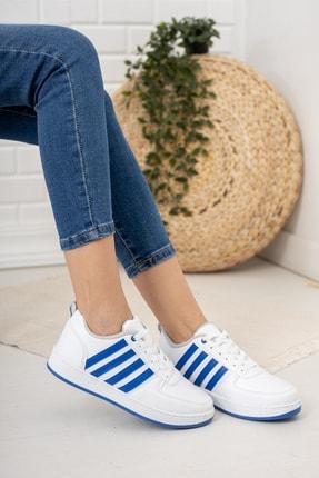 Moda Değirmeni Kadın Beyaz Mavi Sneaker Md1053-101-0002 0