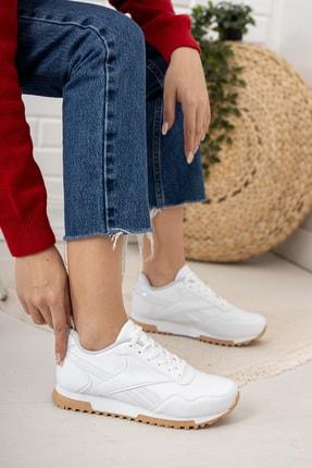 Moda Değirmeni Kadın Beyaz Krep Tabanlı Sneaker Md1053-101-0001 2
