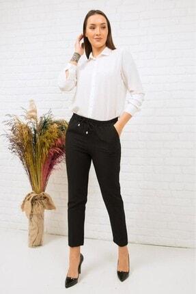 Miss Anka Kadın Siyah Beli Lastikli Kumaş Pantolon 1
