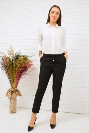 Miss Anka Kadın Siyah Beli Lastikli Kumaş Pantolon 2
