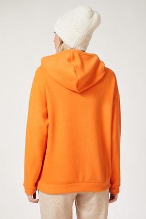 Happiness İst. Kadın Oranj Kapüşonlu Kışlık Polar Sweatshirt ZV00047 2