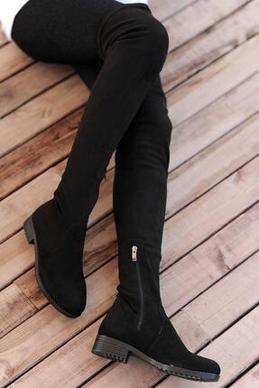 Pembe Potin Kadın Siyah Nubuk Çizme A9200-19 3