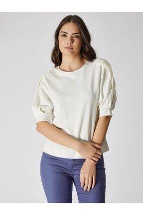 Vekem Kadın Kırık Beyaz Şifon Kol Detaylı Pamuklu Bluz 9107-0074 0