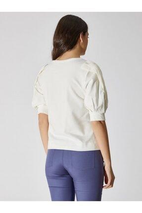 Vekem Kadın Kırık Beyaz Şifon Kol Detaylı Pamuklu Bluz 9107-0074 1
