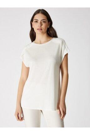 Vekem Kadın Kırık Beyaz Sıfır Yaka Japone Kol Bluz 9107-0071 2