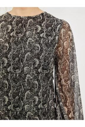 Vekem Kadın Gri Desenli Sıfır Yaka Uzun Kol Bluz 9107-0047 3
