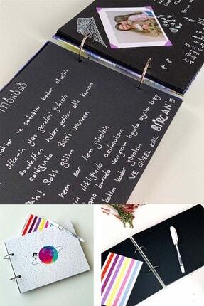 Patladı Gitti Satürnlü Kız Tasarımlı Fotoğraf Albümü Anı Defteri; Beyaz Kalem Ve Yapıştırıcı Hediyeli 1
