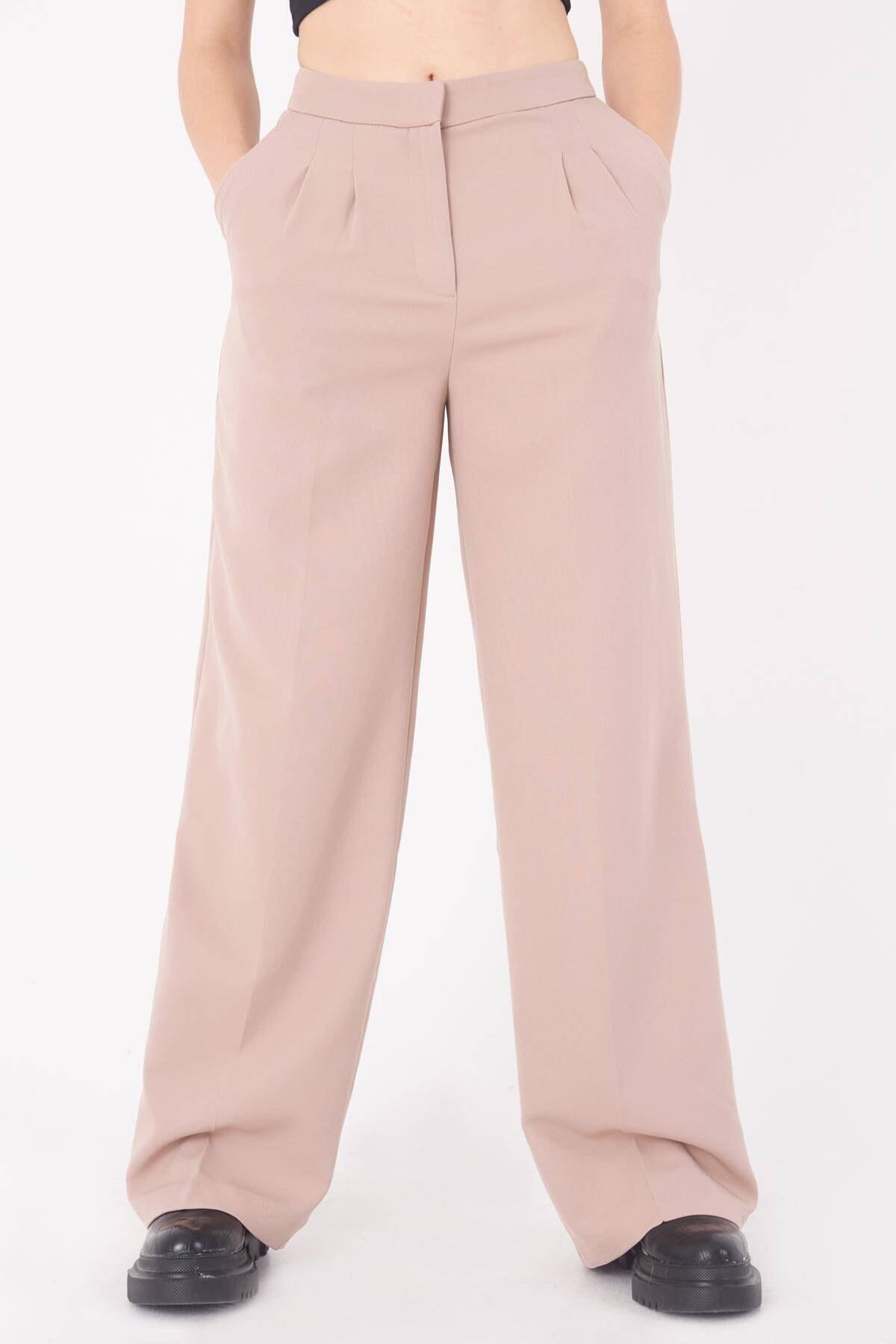 Addax Kadın Bej Cep Detaylı Bol Pantolon PN8058 - E8 ADX-0000023058 1