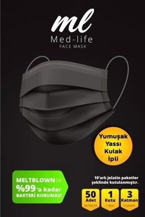MED LİFE Med-lıfe 'favorim Siyah' Cerrahi Meltblown Maske 50 Adet 1