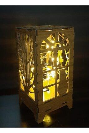 DDTREND Dekoratif Ahşap Abajur Masa Süsü Pilli Peri Led Lamba Hediye Kutu Kedi , Ağaç Desenli 20-10cm 1
