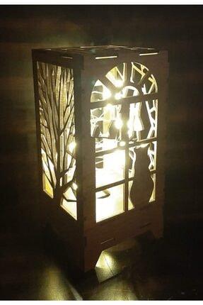DDTREND Dekoratif Ahşap Abajur Masa Süsü Pilli Peri Led Lamba Hediye Kutu Kedi , Ağaç Desenli 20-10cm 2