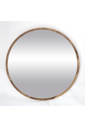 bluecape Yuvarlak Ceviz Duvar Salon Ofis Aynası 60 cm 4