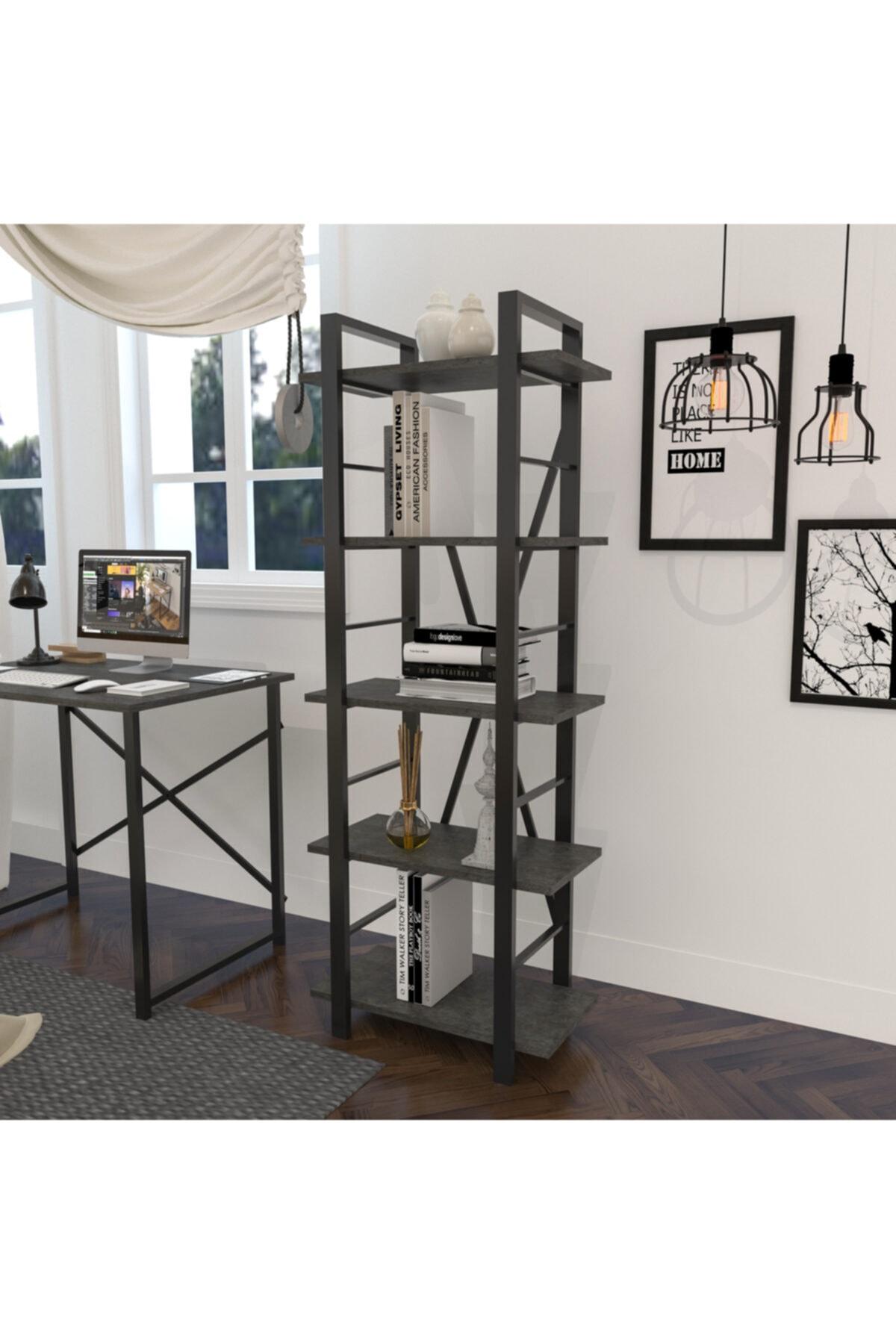 Savran Home Metal Ayaklı 5 Raflı Modern Dekoratif Dosya Kitap Rafı Ofis Ev Rafı 159x60 - Woody Antrasit