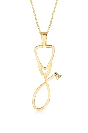 Gelin Pırlanta Kadın Altın Gelin Diamond 14 Ayar Pırlantalı Steteskop Kolye 0