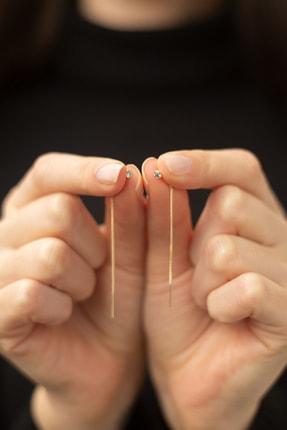 Gelin Pırlanta Kadın Altın Gelin Diamond 14 Ayar Tek Taşlı Sallantılı Küpe 3