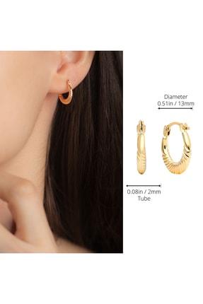 Gelin Pırlanta Gelin Diamond 14 Ayar Altın Halka Küpe (1.3 Cm) 4