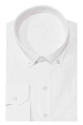 Picture of Erkek Beyaz Yaka Düğmeli Büyük Beden Uzun Kol Cepli Gömlek