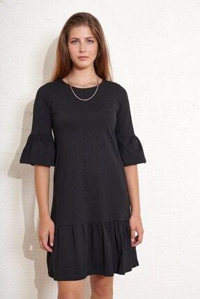 Eka Kadın Eteği ve Kolları Volanlı Salaş Elbise 2