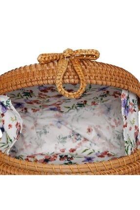 The All Brands Kadın Kahverengi Bagoist Tam Oval Rattan Çanta 20 cm 3