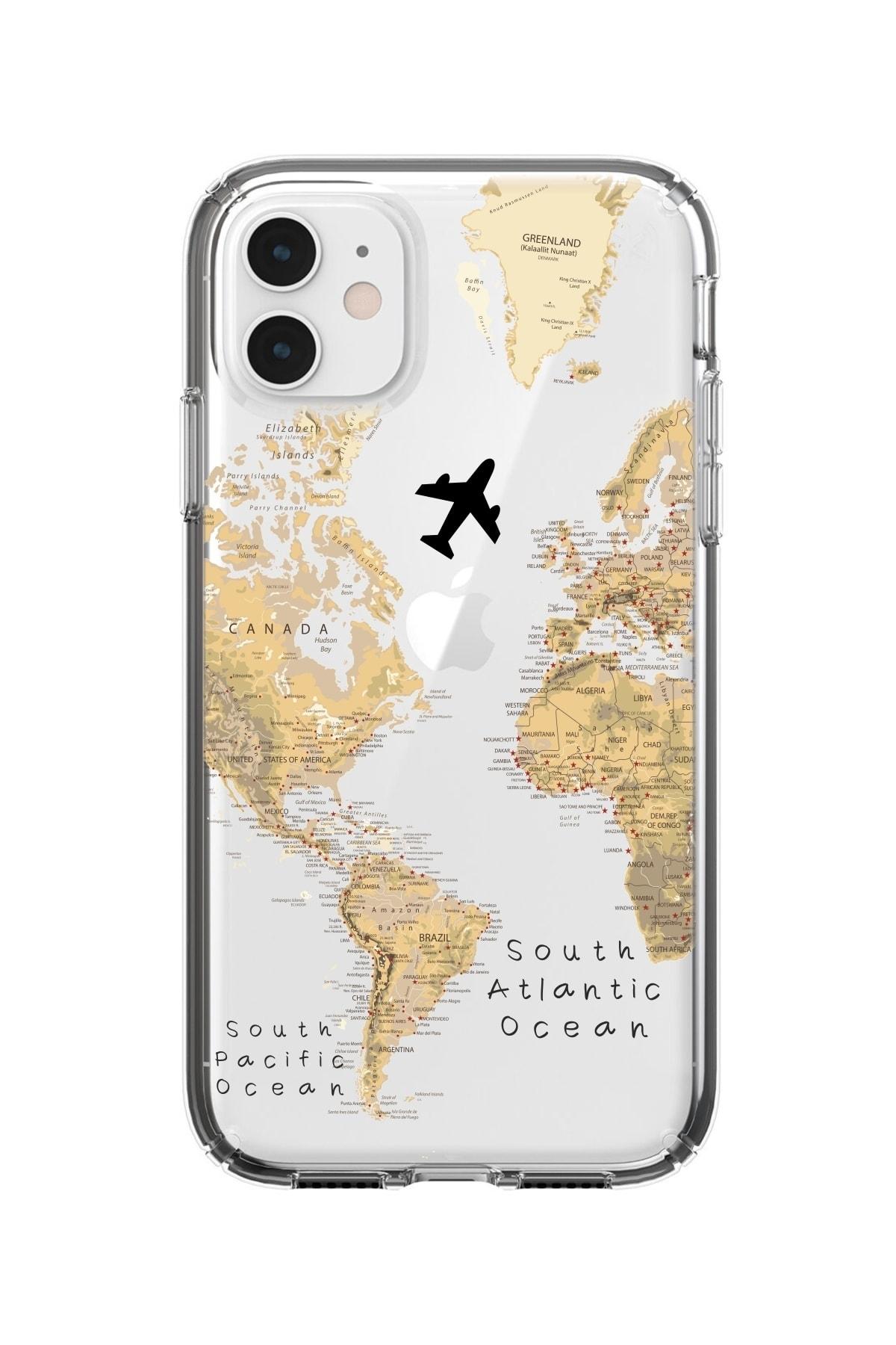 Iphone 11 Dünya Harita Desenli Premium Şeffaf Silikonlu Kılıf