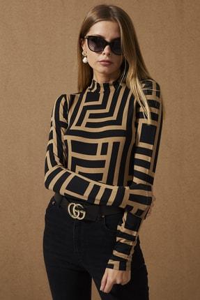 Cool & Sexy Kadın Camel-Siyah Yarım Balıkçı Desenli Bluz LPP1147 1