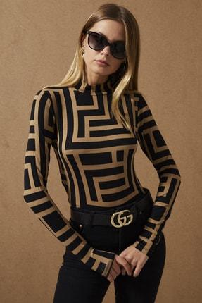 Cool & Sexy Kadın Camel-Siyah Yarım Balıkçı Desenli Bluz LPP1147 3