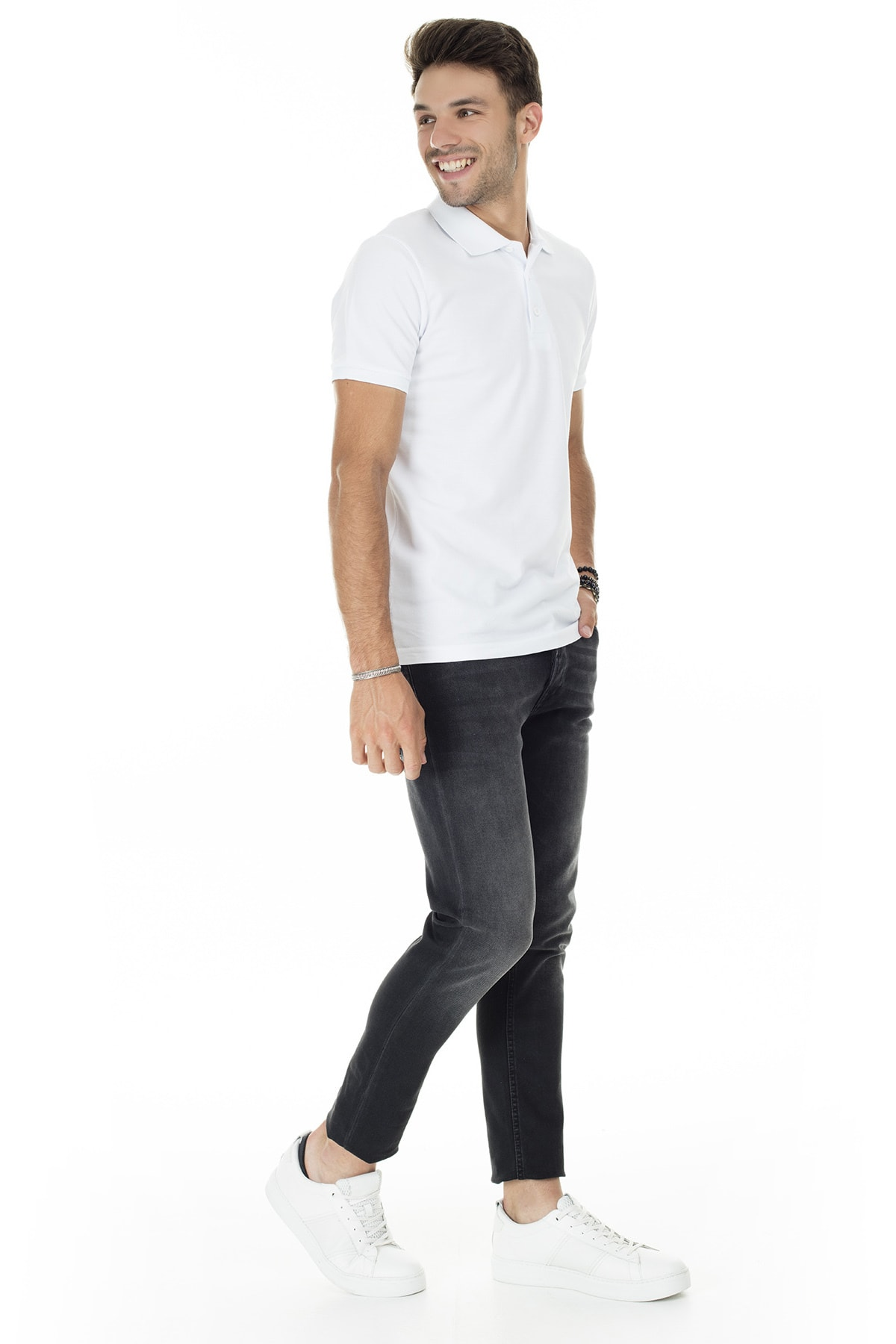 Buratti Erkek Beyaz Düğmeli Polo Yaka Pamuklu Günlük T Shirt 4362050 4