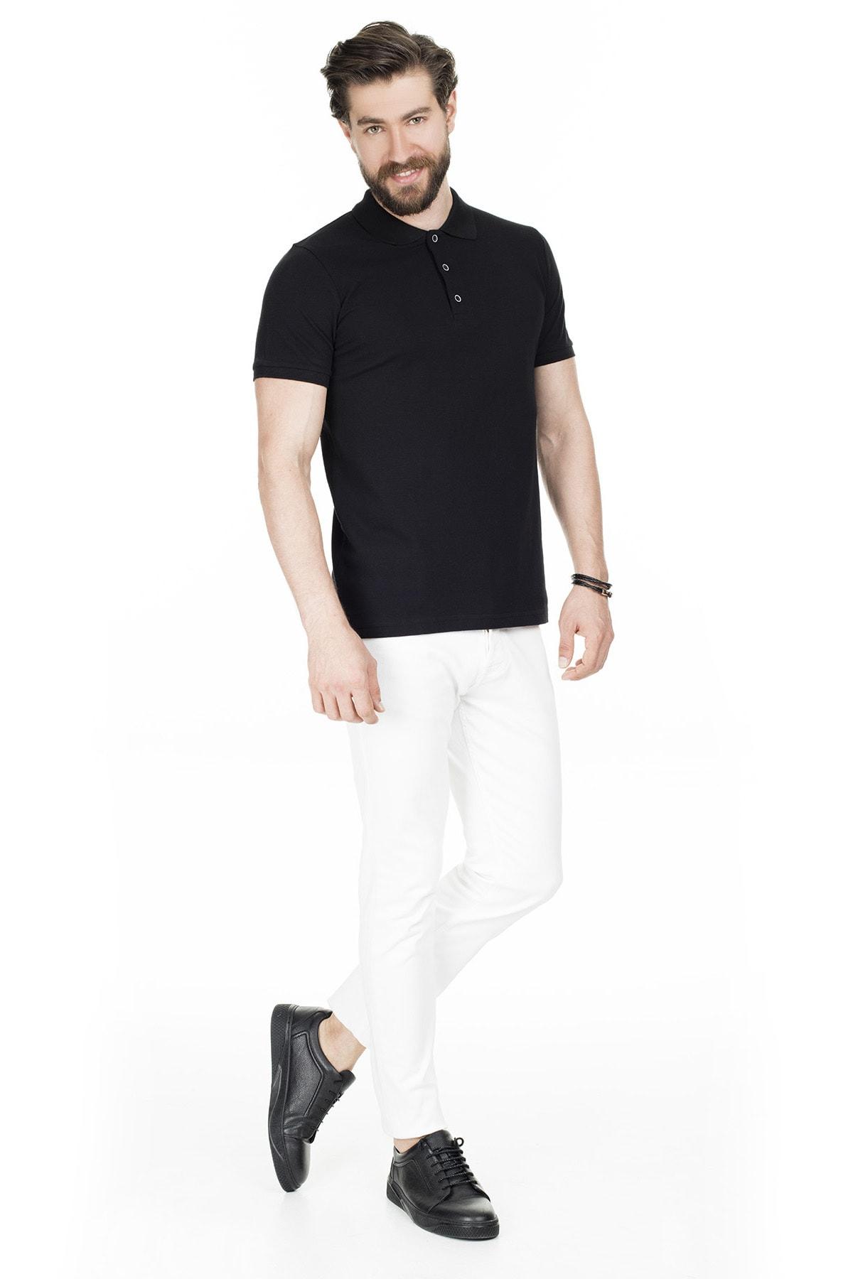 Buratti Erkek Siyah Düğmeli Polo Yaka Pamuklu Günlük T Shirt 4362050 3