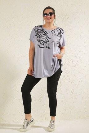 Siyezen Kadın Gri Büyük Beden Salaş Önü Baskı Detaylı T-shirt 0