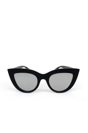Hane14 Kalın Çerçeveli Tasarım Aynalı Camlı Cat Eye Bayan Güneş Gözlüğü Siyah 1