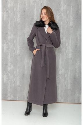 Kadın Gri Yakası Düğme Kapamalı Palto resmi