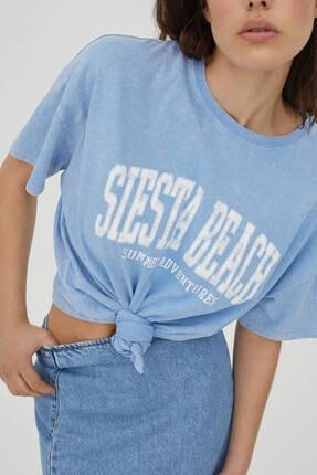 Pull & Bear Soluk Efektli Mavi Kolej T-shirt 4