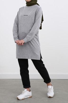 Ekrumoda Kadın Gri Pamuklu Sweatshirt 3