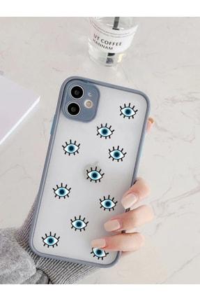 mooodcase Iphone 11 Uyumlu Füme Kamera Lens Korumalı Nazar Gözler Desenli Lüx Telefon Kılıfı 0