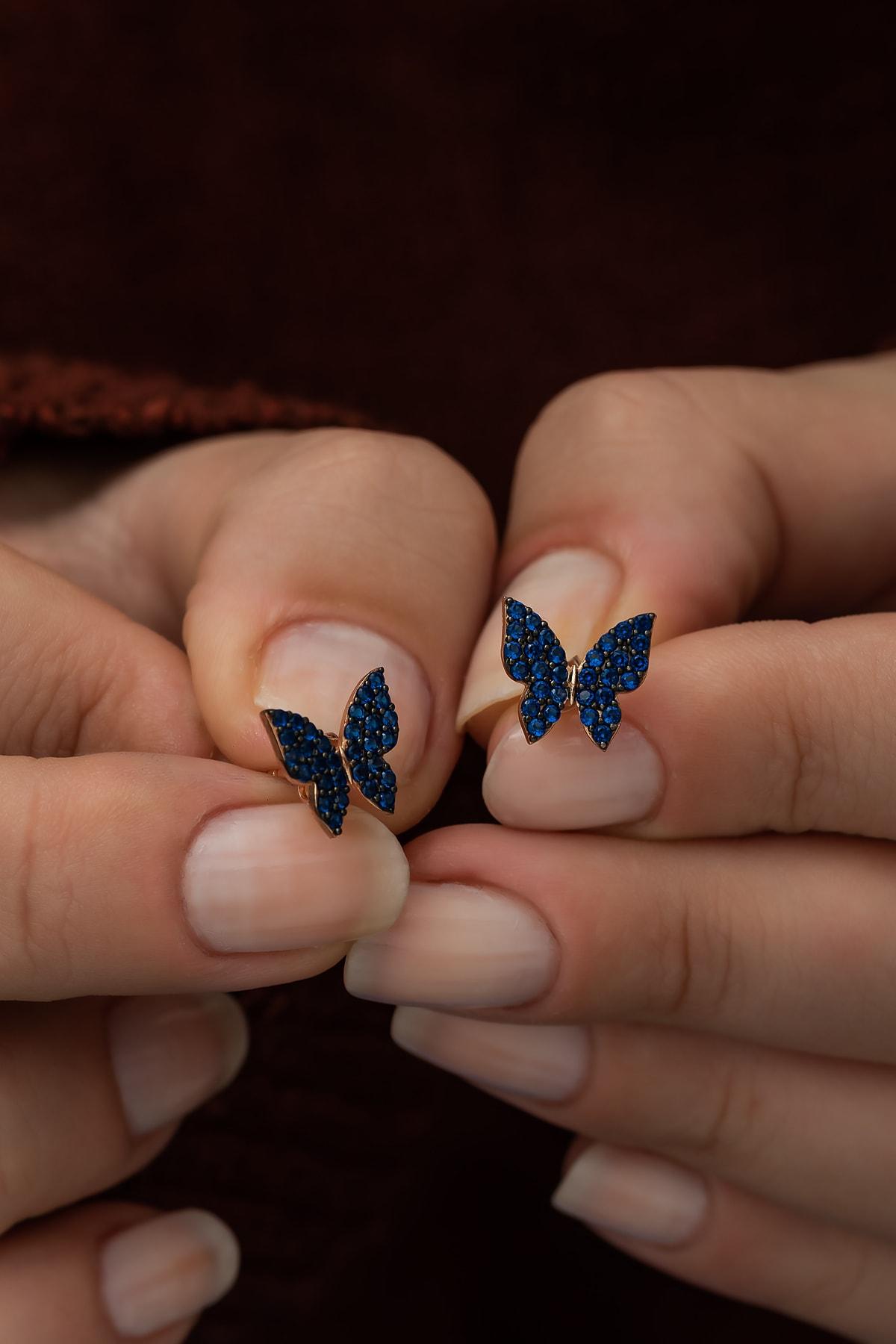 Kadın Mavi 925 Ayar Minik Kelebek Küpe Gümüş Küpe