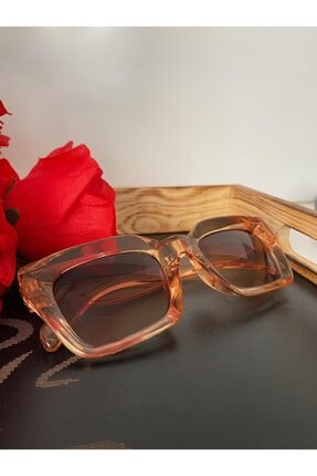 Mathilda Aksesuar Mia Kalın Çerçeveli Tasarım Gözlük Bal Çerçeve Kahve Cam 0