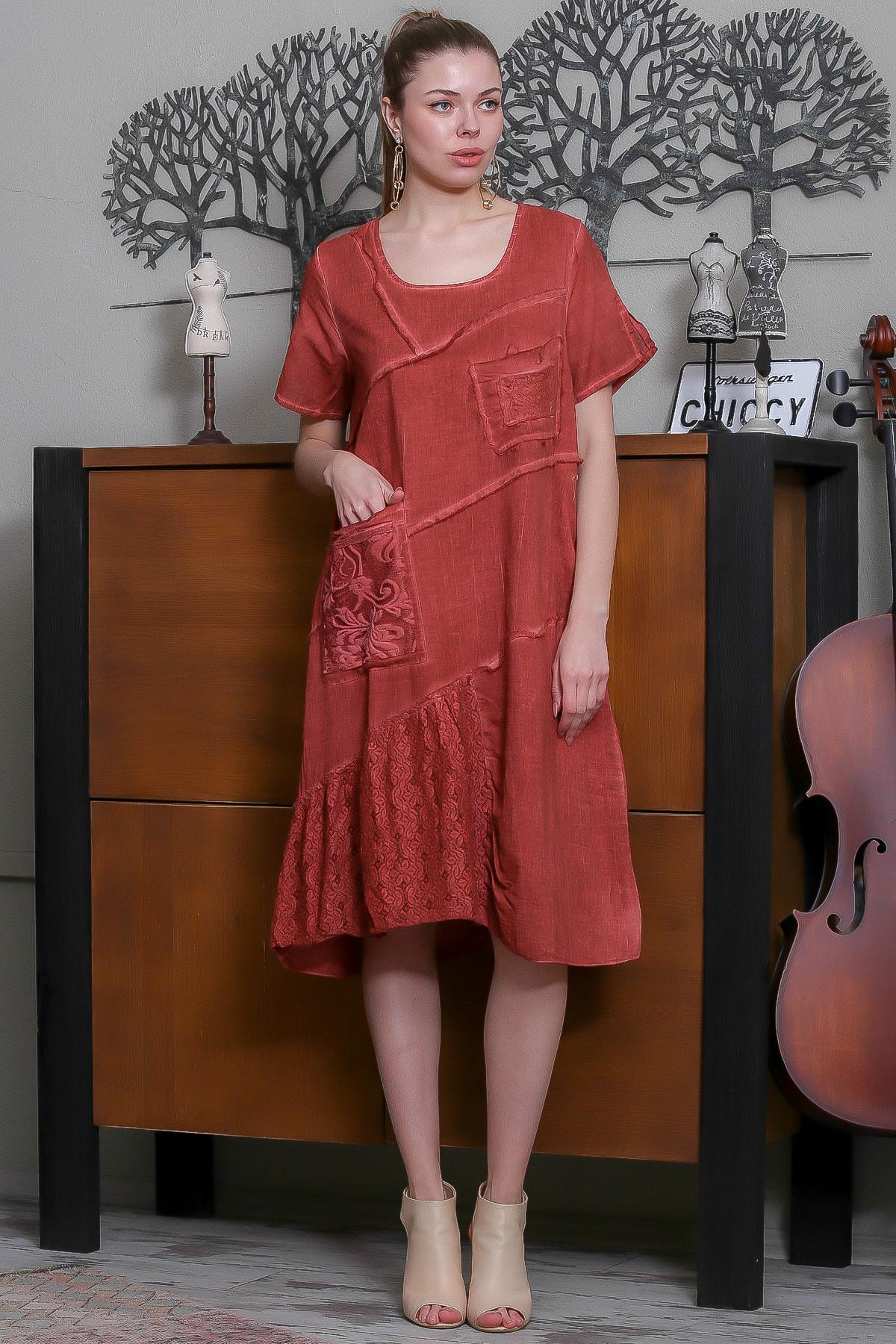Chiccy Kadın Kiremit Sıfır Yaka Dantel Bloklu Cepli Astarlı Yıkamalı Elbise M10160000EL95294 2