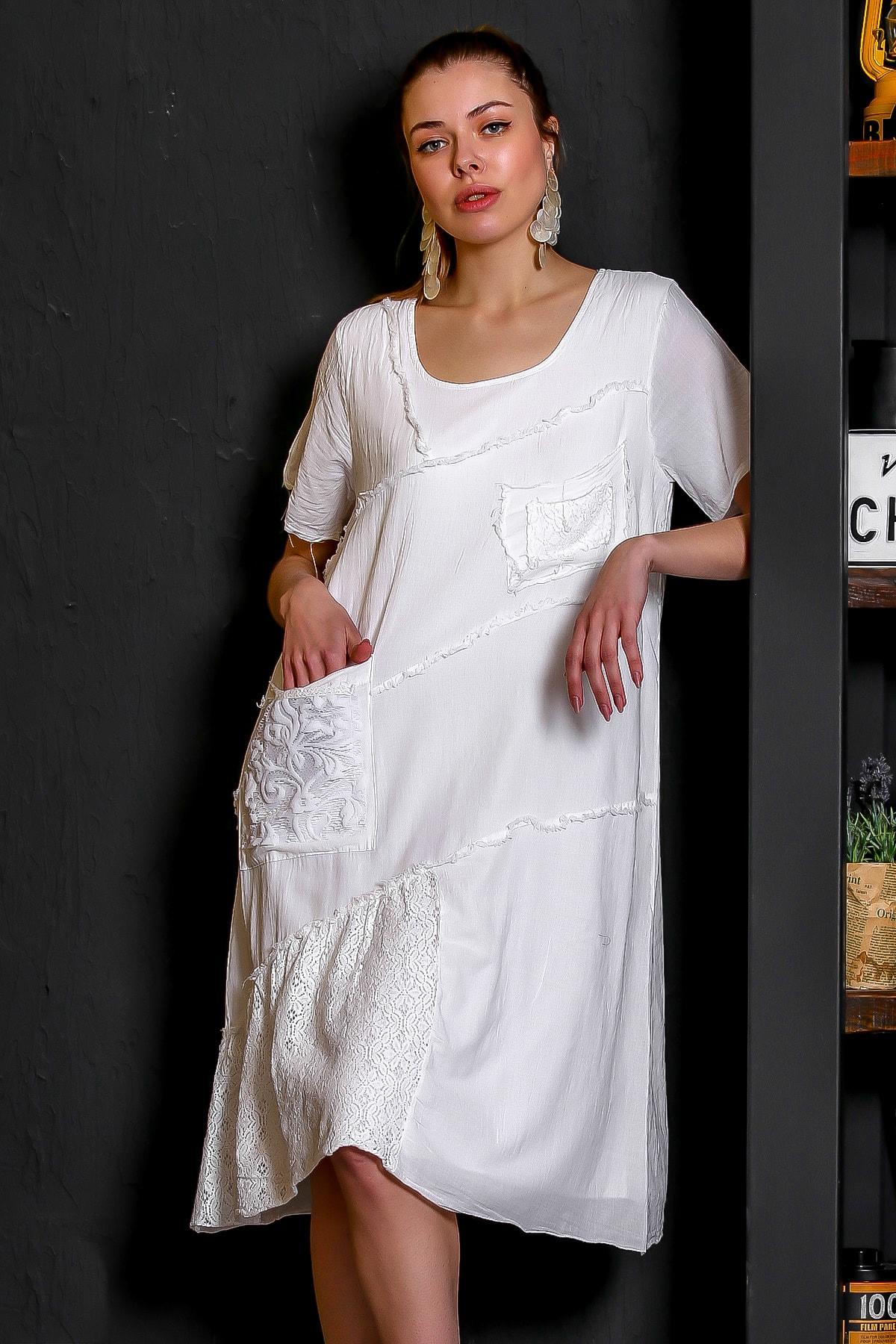 Chiccy Kadın Beyaz Sıfır Yaka Dantel Bloklu Cepli Astarlı Yıkamalı Elbise M10160000EL95294 0