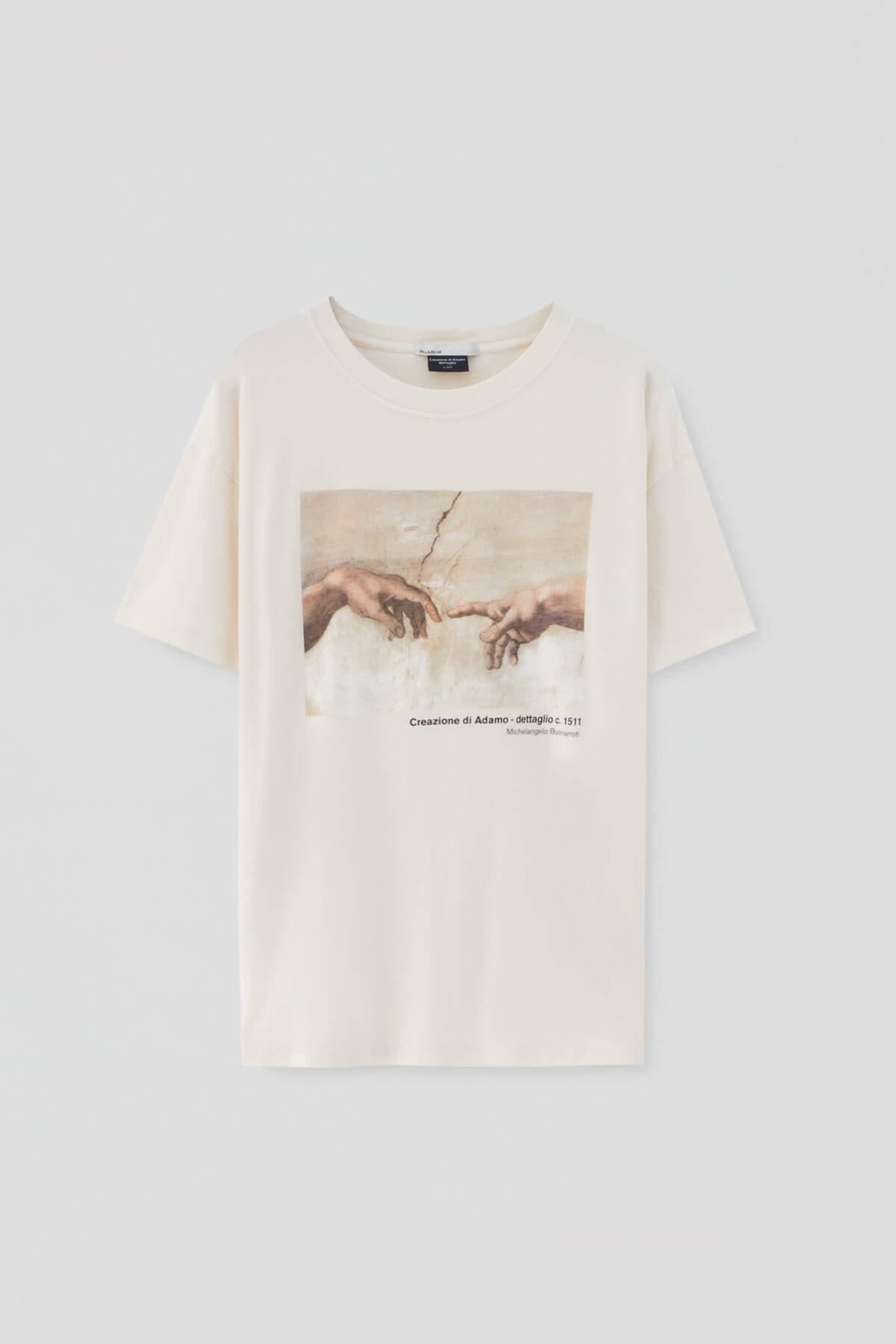 Pull & Bear Kadın Ekru Michelangelo Sistina Şapeli Görselli T-shirt 4
