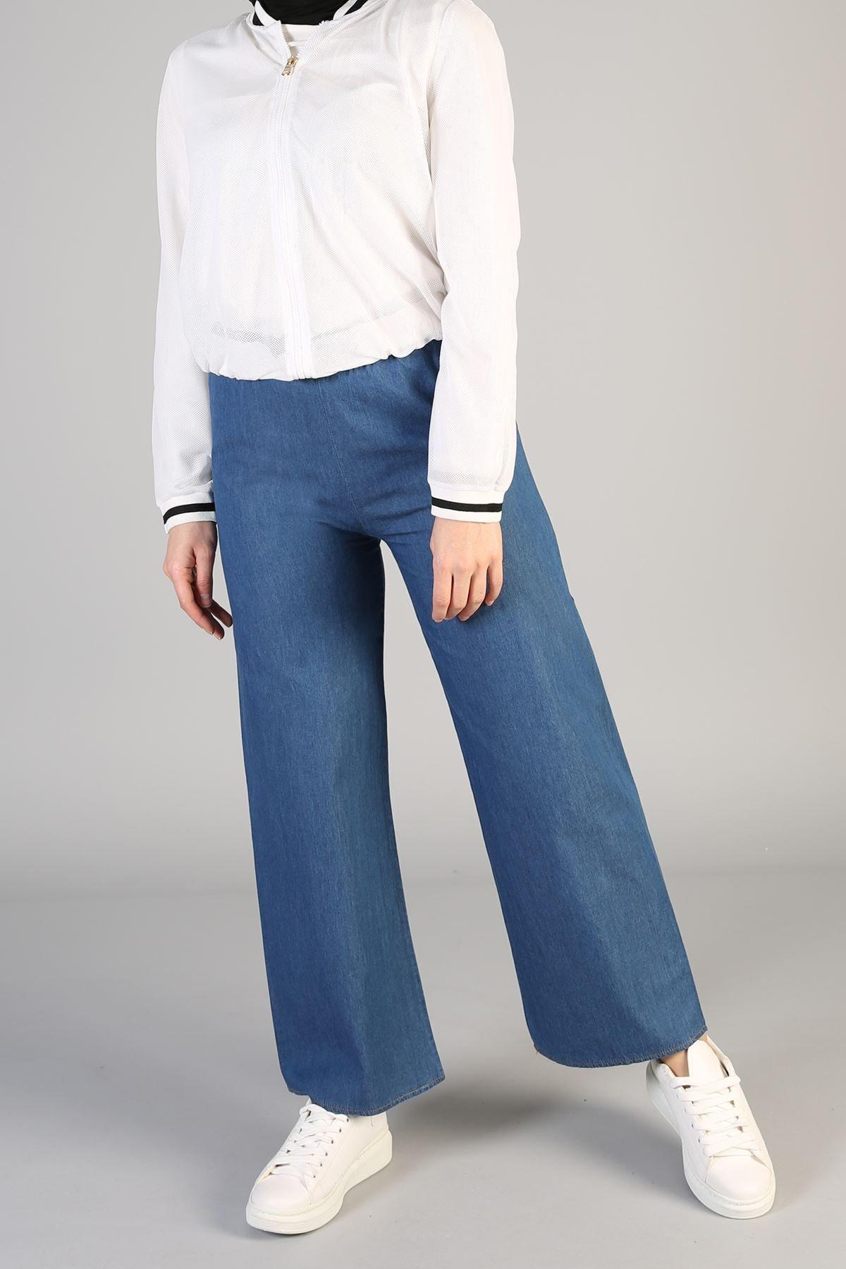 Kadın Mavi Lastikli Bol Pantolon