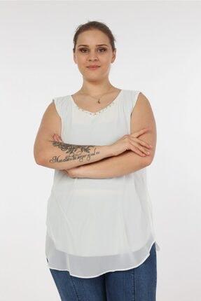 تصویر از Kadın Beyaz Sıfır Kol Yakası Incili Büyük Beden Bluz
