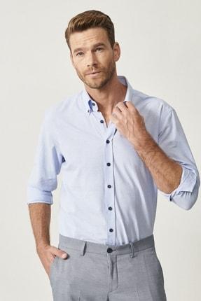 Altınyıldız Classics Erkek Açık Mavi Düğmeli Yaka Tailored Slim Fit Oxford Gömlek 0
