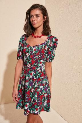 TRENDYOLMİLLA Çok Renkli Balon Kollu Desenli Elbise TWOSS20EL0899 2
