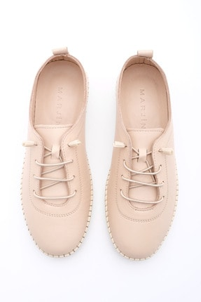 Marjin Kadın Bej Hakiki Deri Comfort Ayakkabı Ritok 4